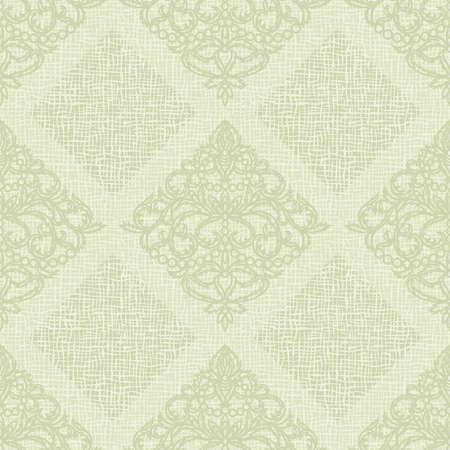Seamless background with classic patterns. Light green color, pastel tones. Coarse weaving structure of linen fabric, canvas. Vintage style.