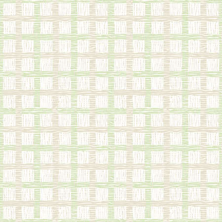Seamless square background with checkered structure. Pastel tones. Soft pattern with distorted lines. Light green, brown, beige, white colors.