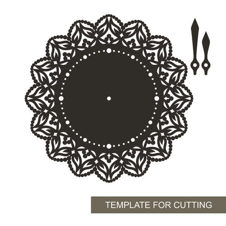 Wall clock with decorative design. Dial without numbers, minute and hour hands, lace ornament along the edge. Vector template for plotter laser cutting of plywood, wood carving, metal engraving.