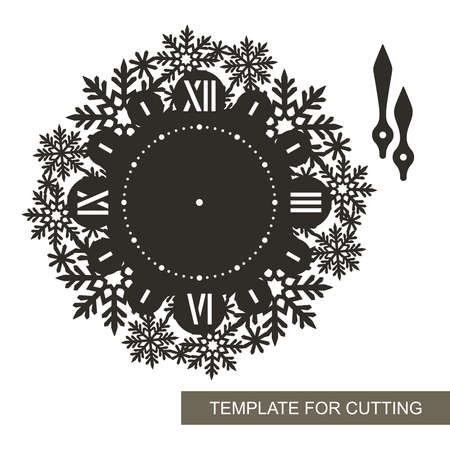 Silhouette of decorative wall clock. Roman numerals, hour and minute hands, openwork dial with a pattern of snowflakes. Interior decoration, gift for winter holidays, Christmas, New Year. Vector image Vektorové ilustrace