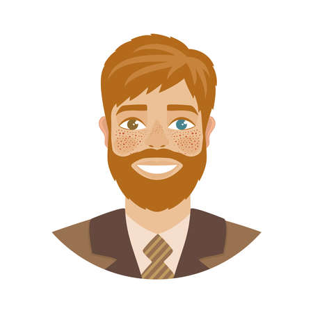 Person with heterochromia. Handsome man with different eye colors - blue and brown. Smiling, cheerful, redhead character. Cartoon style. Portrait isolated on a white background. Vector illustration.