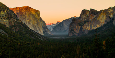 Dramatical sunrise of tunnel view with red peak of mountains, Yoemite national park photo