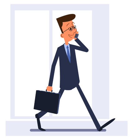 walking on hands: Businessman walking, holding briefcase and talking on the phone Illustration