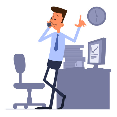 businessman shoes: Businessman standing near the workplace and talking on the phone Illustration