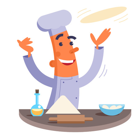 pizza dough: Cartoon chef making pizza dough Illustration