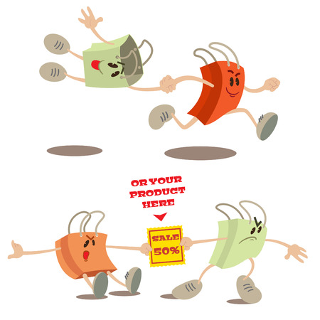 couple fight: Set of shopping bag mascots in various situations Illustration