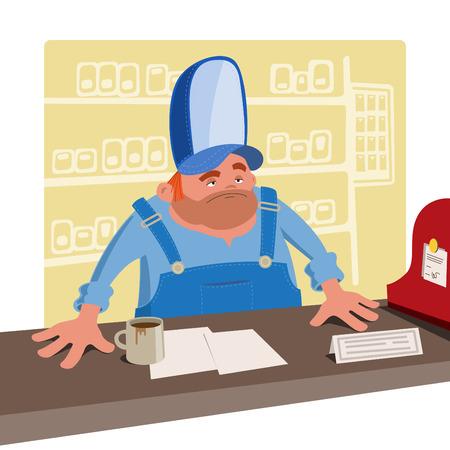 sullen: Cassiere Sullen in un grande cappello da baseball in piedi dietro la scrivania