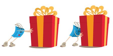 pushing: Shopping bag mascot pushing gift box.