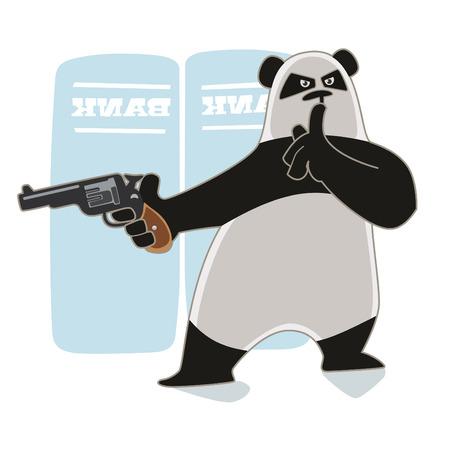 revolver: Robber Panda holding a gun.