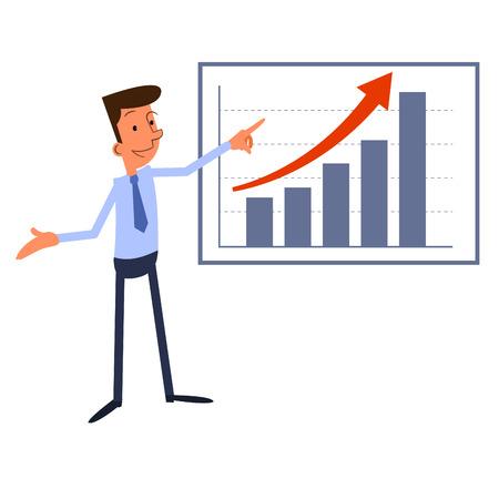 Cartoon zakenman presenteert groei grafiek