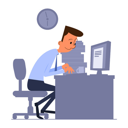 man working on computer: Cartoon office worker typing on computer