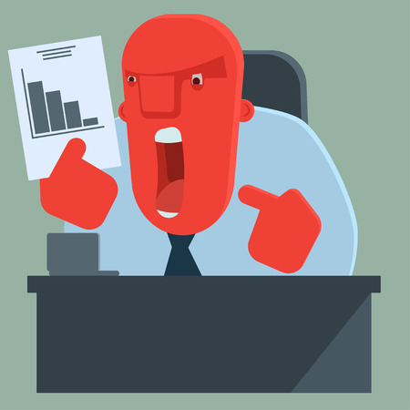 dissatisfied: Angry boss is dissatisfied with results