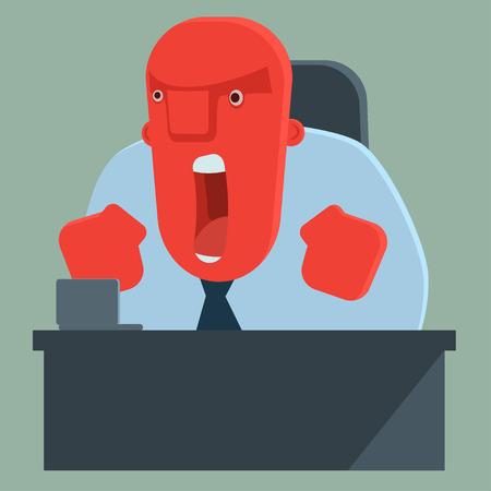 jefe enojado: Jefe gritando enojado
