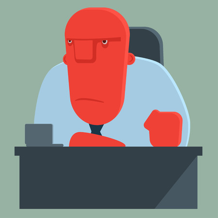 dissatisfied: Dissatisfied boss sits at a table