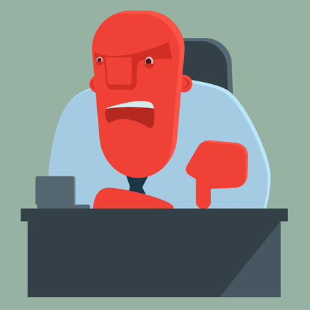 dissatisfied: Dissatisfied boss warns someone Illustration