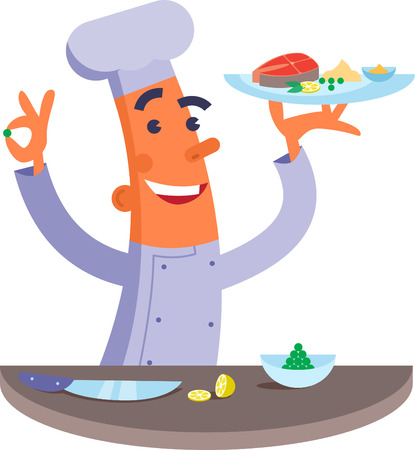 steak plate: Cartoon chef holding plate with fish steak