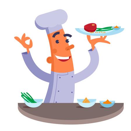 chef caricatura: Cocinero de la historieta que sostiene el plato con filete de carne