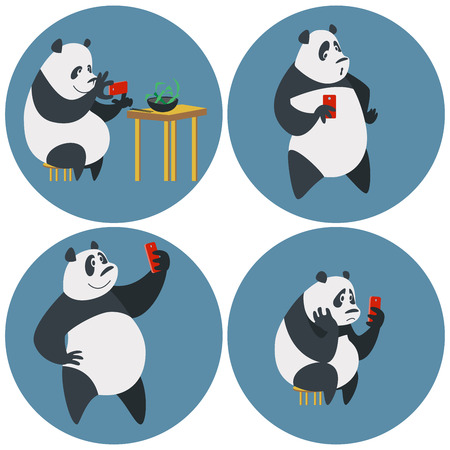 Panda taking photo of food, doing selfie and waiting for appreciation Vector