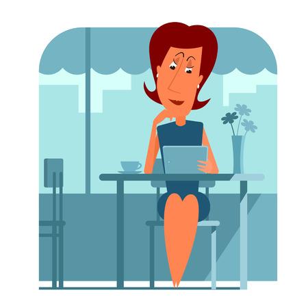 vrouw met tablet: Vrouw zitten in cafe en het gebruik van een tablet-computer.