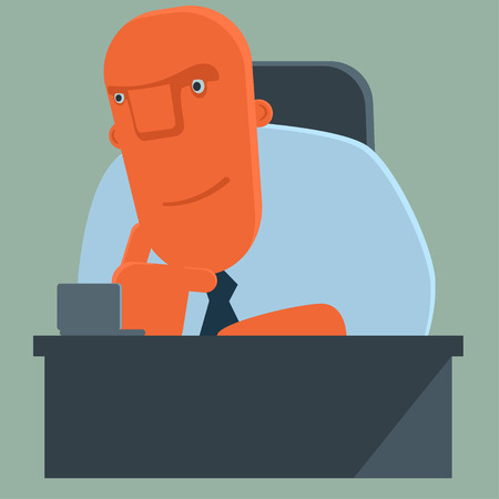 hand on chin: Happy cartoon boss sitting in armchair, listens attentively and propping up his hand chin.