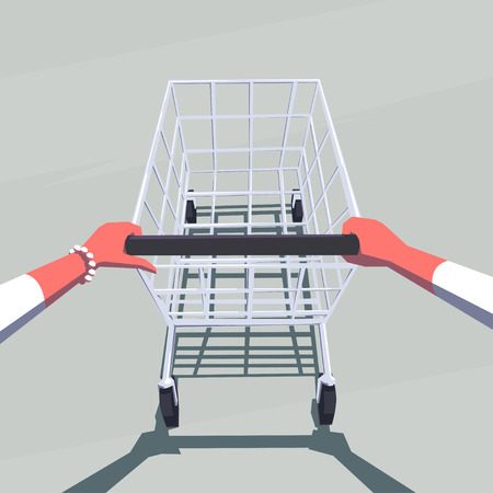 personal point of view: Female hands pushing empty shopping cart. Retro style illustration. Personal point of view. Layered file.