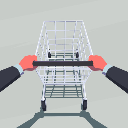 point of view: Male hands pushing empty shopping cart. Retro style illustration. Personal point of view. Layered file.