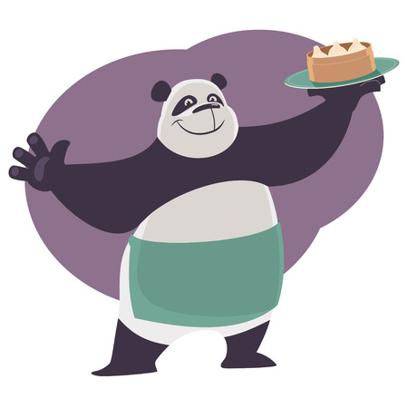 Cheerful cartoon waiter Panda shows a tray with chinese food dim sum. Vector