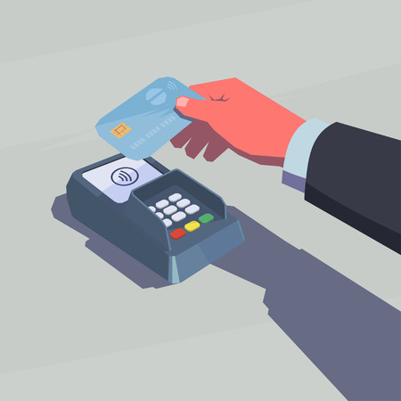 Contactless payment. Male hand holding credit card. NFC technology. Retro style illustration. Vectores