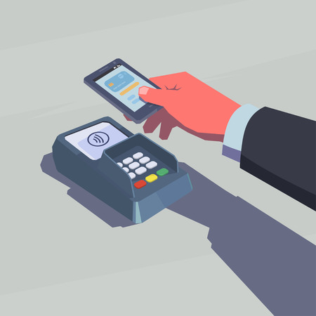 nfc: Contactless payment. Male hand holding mobile phone. NFC technology. Retro style illustration.