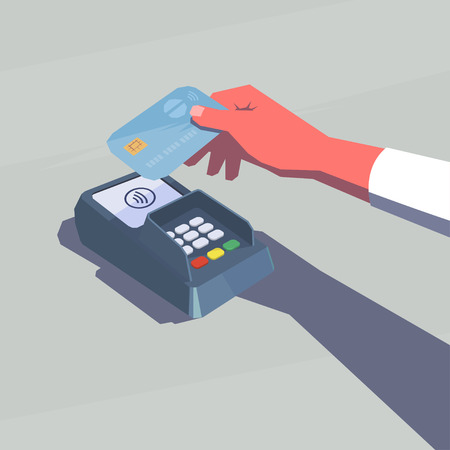 cashless payment: Contactless payment. Female hand holding credit card. NFC technology. Retro style illustration.