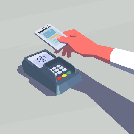 woman holding money: Contactless payment. Female hand holding mobile phone. NFC technology. Retro style illustration. Illustration