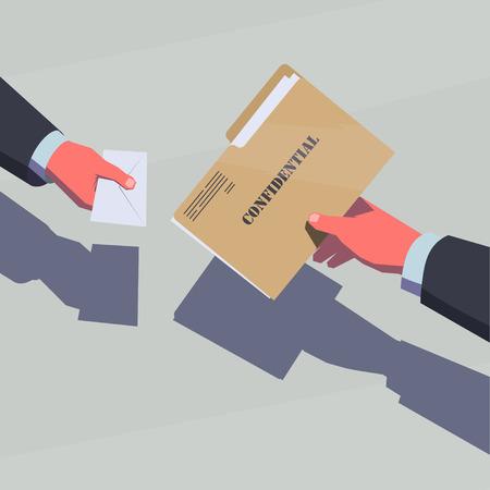 Het verkopen van de geheime informatie. Mannelijke handen passeren vertrouwelijke folder en envelop met geld.