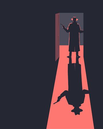 door to door: Armed man standing in a doorway. Silhouette. Retro style illustration.