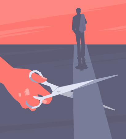 End of relationship. The female hand using scissors cuts the road on which the man leaves. Retro style illustration.
