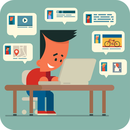 interesting music: Cartoon young man sitting at a table and chatting online with friends using laptop. Sharing music, video, photos,   interesting places.