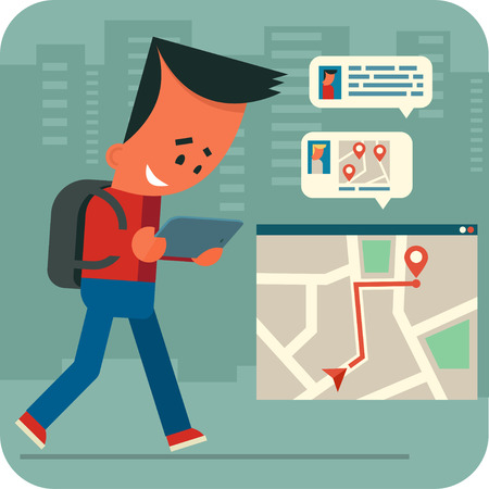 people traveling: Cartoon young man traveling and chatting online with friends using tablet and navigation application.