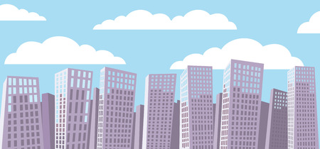 ร   ร   ร   ร  ร ยข  white clouds: Cartoon cityscape background. Blue sky. White clouds. Illustration