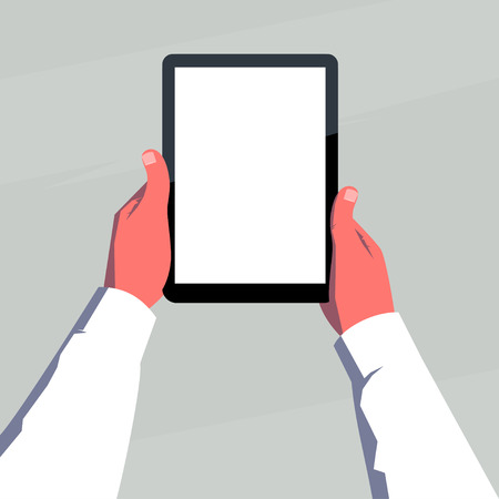blank tablet: Male hands holding blank tablet vertically. Retro style illustration.