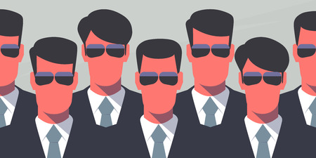 secret: Group of bodyguards in dark suits and dark glasses. Secret service agents. Protection concept. Retro style illustration.