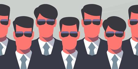 guardia de seguridad: Grupo de los guardaespaldas en trajes oscuros y gafas oscuras. Agentes del Servicio Secreto. Concepto de protecci�n. Ilustraci�n de estilo retro.