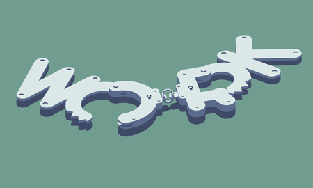 dismissal: Unlocked handcuffs made of work word. Freedom concept illustration. Isolated on green background. Layered file.