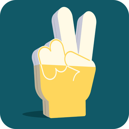 foam hand: Two beers, please foam hand. Funny item for a bar, pub or party. Illustration