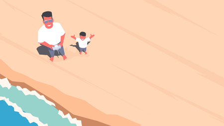 dad son: Father and son standing on the beach and taking selfie using a drone. Aerial view. Outdoor scene. Retro style illustration.
