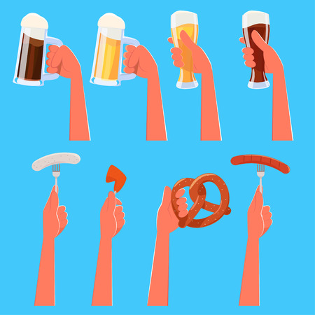 weisswurst: Set of cartoon hands holding beer and traditional german food - grilled sausage, weisswurst white   sausage, pretzel, roast chicken. Transparency used. Hands are layered.