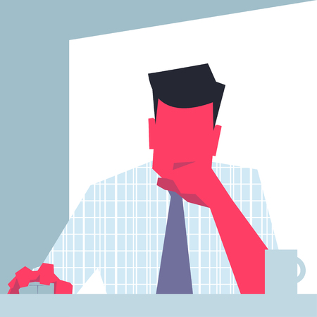 CHIN: Businessman sitting in front of PC PC monitor point of view propping his chin, holding computer   mouse. Retro style illustration. Illustration