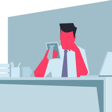 cheek: Businessman sitting at a table, propping his cheek, holding photo frame and thinking. Retro style   illustration. Illustration
