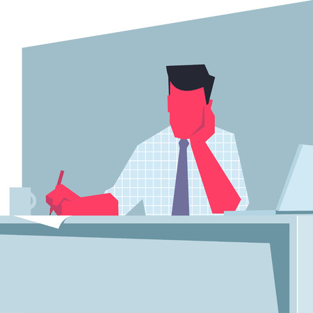 cheek: Businessman sitting at a table, propping his cheek and writing. Retro style illustration.