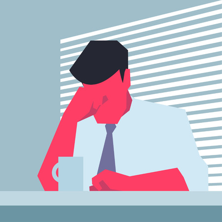 despondency: Businessman sitting at a table, propping his forehead. Retro style illustration.