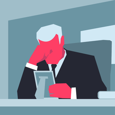 forehead: Aged grey-haired man in black suit sitting at a table, holding photo frame and popping his forehead.   Sorrow concept. Retro style illustration.