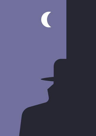 detective: Detective story. Human head and man in a hat and raincoat silhouettes created using negative and positive space. Suitable for book covers, posters, flyers etc.